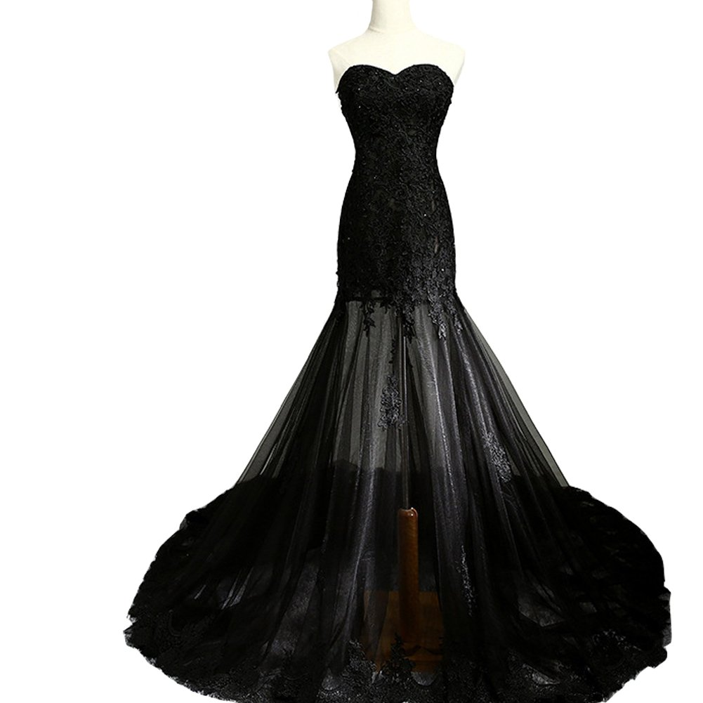Kivary Sheer Black Tulle Lace Sweetheart Corset Back Formal Mermaid Prom Evening Dresses US16W
