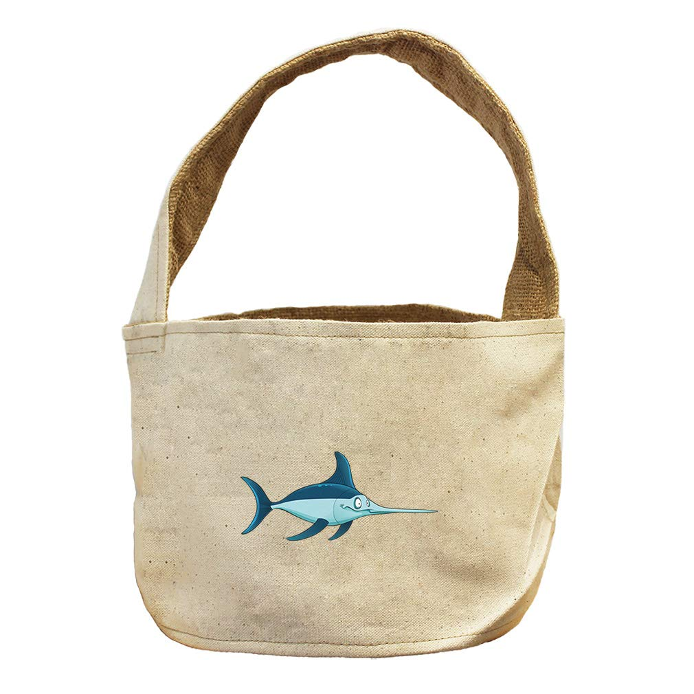 Style in Print Fish with Long Nose Funny Face Animals Canvas and Burlap Storage Basket