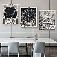 3 piezas de tapices de tarot, tapiz psicodélico, tapiz de pared con tarjeta de tarot para la luna, la estrella y el sol…