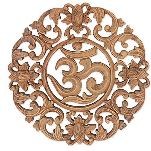 - NOVICA Floral Hand Made Suar Wood Relief Panel Wall Art, Brown, 'Flower Om'