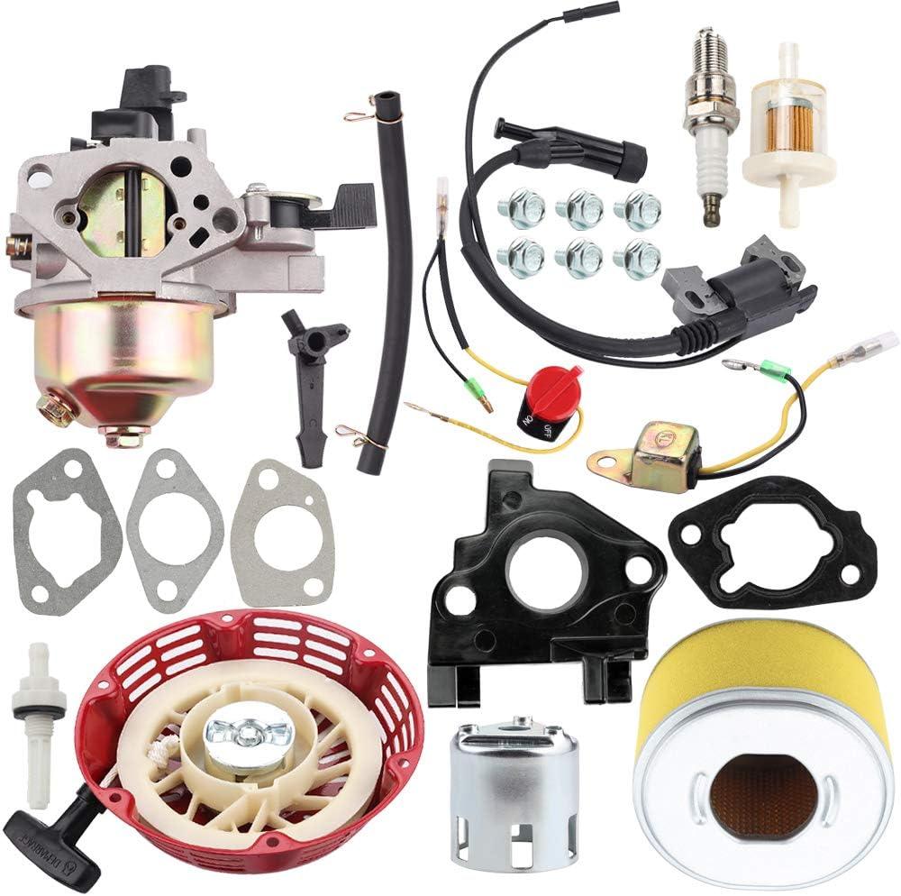Kuupo GX240 GX270 Carburetor + Air Filter + Recoil Starter + Ignition Coil Spark Plug Kit for Honda GX 240 GX 270 8HP 9HP Engine Generator Pressure Washer 270cc WT30X Water Pump Motor Lawn Mower