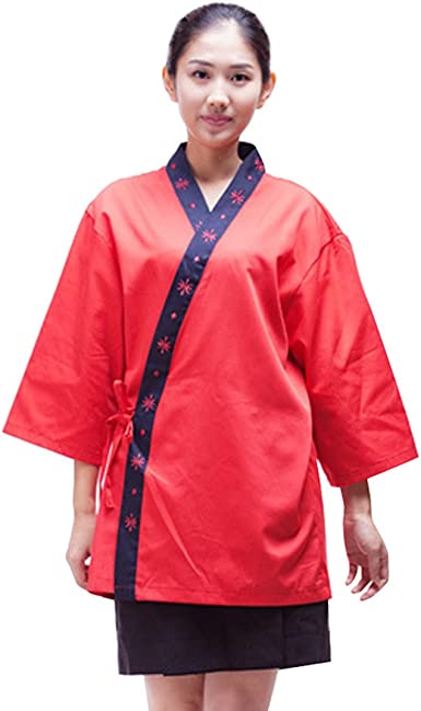 Pinji - Chaqueta de Chef Estilo Japonés para Hombres y Mujeres, Camisa de Cocinero Cocina Uniforme de Trabajo para Restaurante de Sushi: Amazon.es: Ropa y accesorios