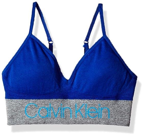 8af324b19951 Calvin Klein Little Girls' Seamfree Long Line Bralette, ck Stripe Logo Bora  Blue,