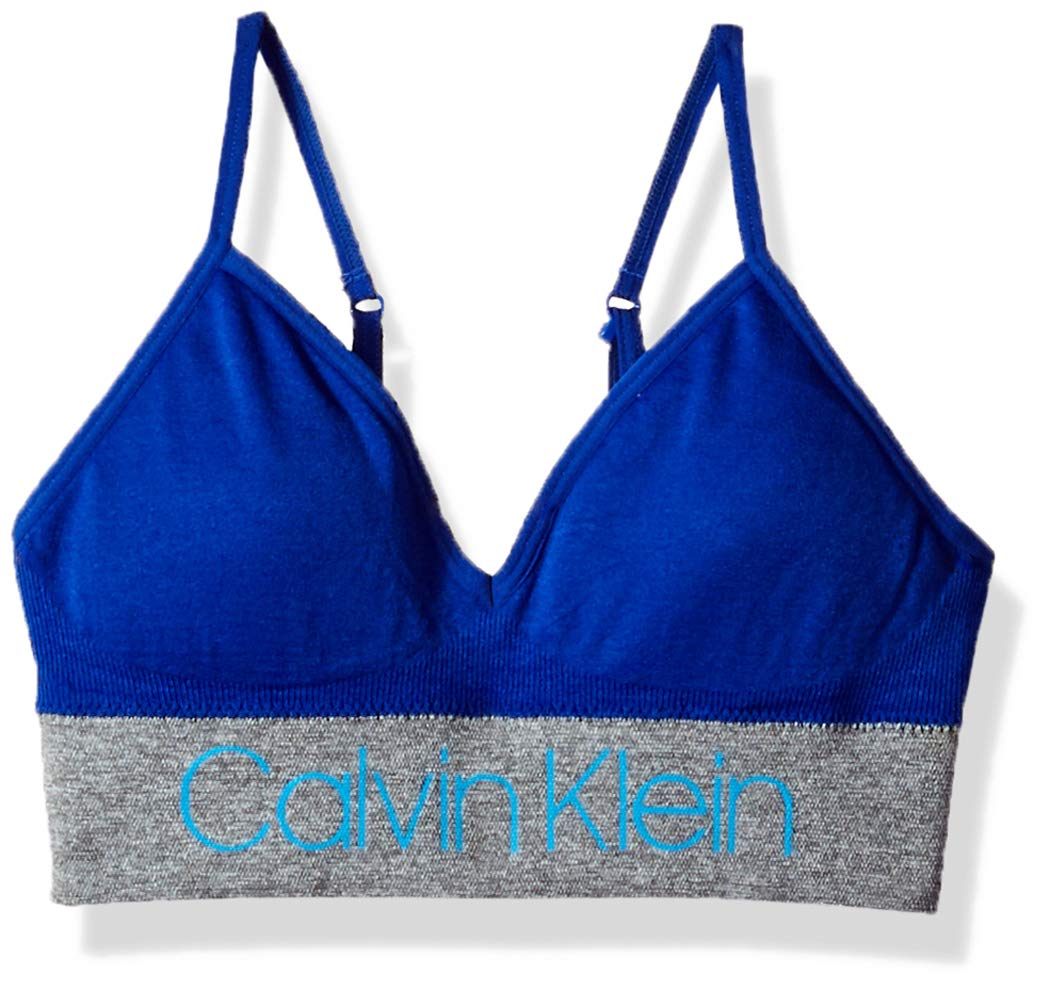 Calvin Klein Little Girls' Seamfree Long Line Bralette,  ck Stripe Logo Bora Blue, Small (6/6X)