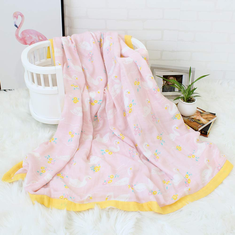 Baby Shower GiftFloral Print Muslin Bamboo Cotton Baby Blankets for Girls LifeTree 2 Layers Toddler Blankets Lightweight Soft Crib Blankets 45 x 45