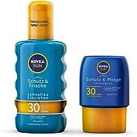 NIVEA Schutz & Frische Sonnenspray + gratis Reisegröße Sonnenmilch (1 x 200ml + 1 x 100ml), Sonnenspray mit LSF 30, wasserfeste Sonnenlotion