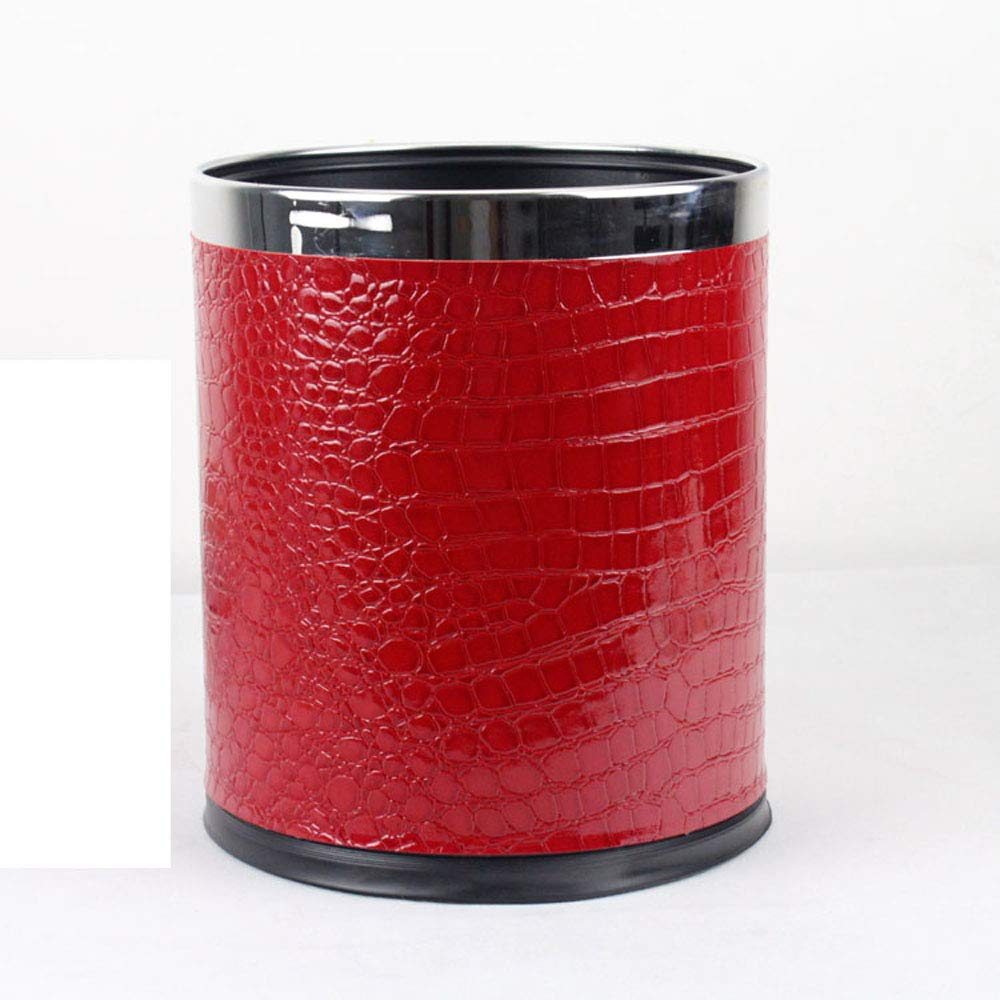 Luxury Double Layer Leather Trash Can with Stainless Stell ring Metal Waste bin 10L garbage container Dustbin case for hotel office (red croco)