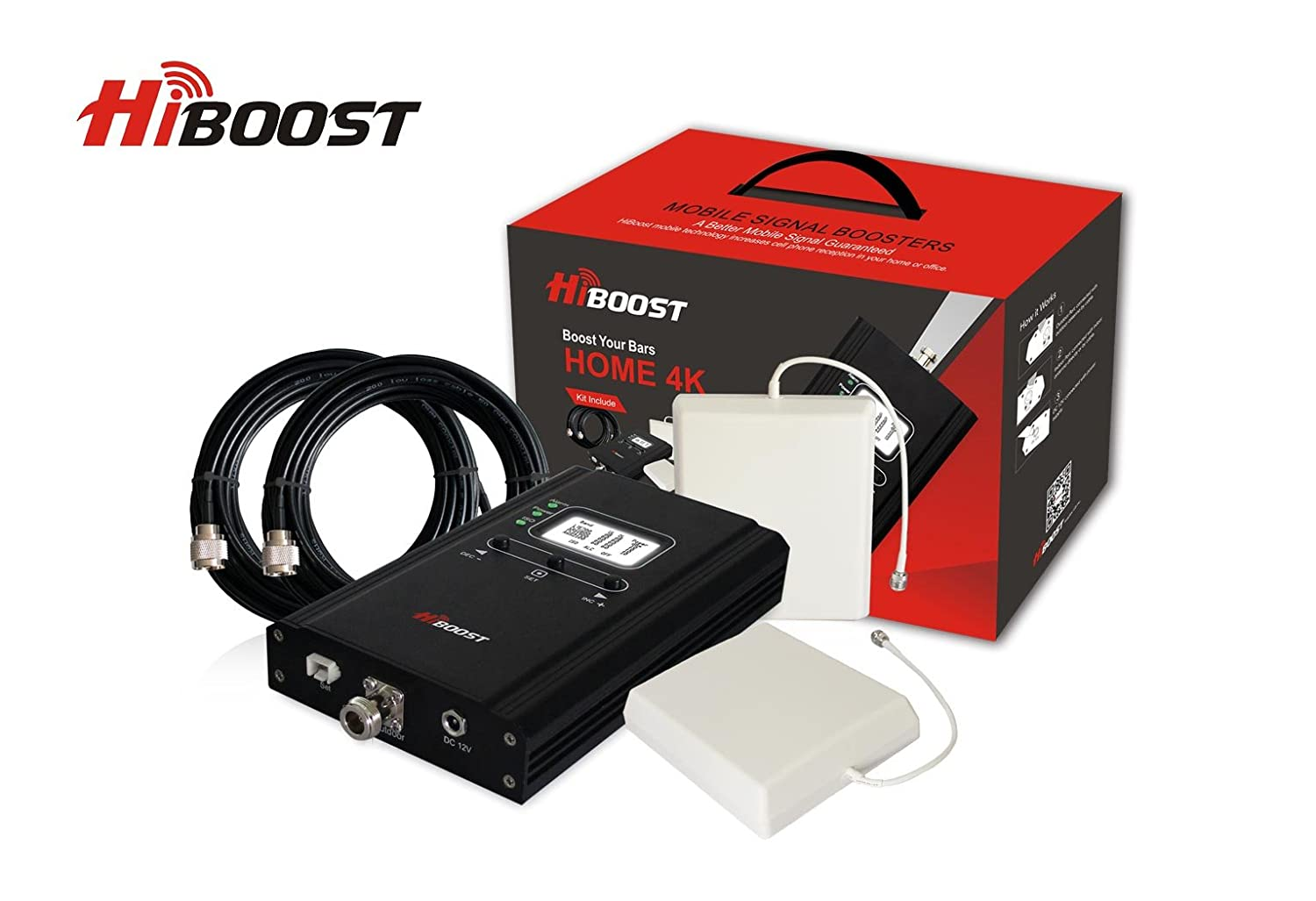 HiBoost 4K LCD – Cell Phone Signal Booster - Improves Reception on Phones, Tablets & Hotspots - Premium & Durable Equipment - Easy to Install for Homes & Offices! Boost up to 4,000 Sq. Ft.