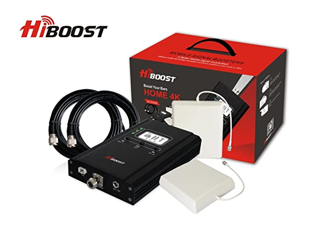 HiBoost 4K LCD – Cell Phone Signal Booster - Improves Reception on Phones,  Tablets & Hotspots - Premium & Durable Equipment - Easy to Install for