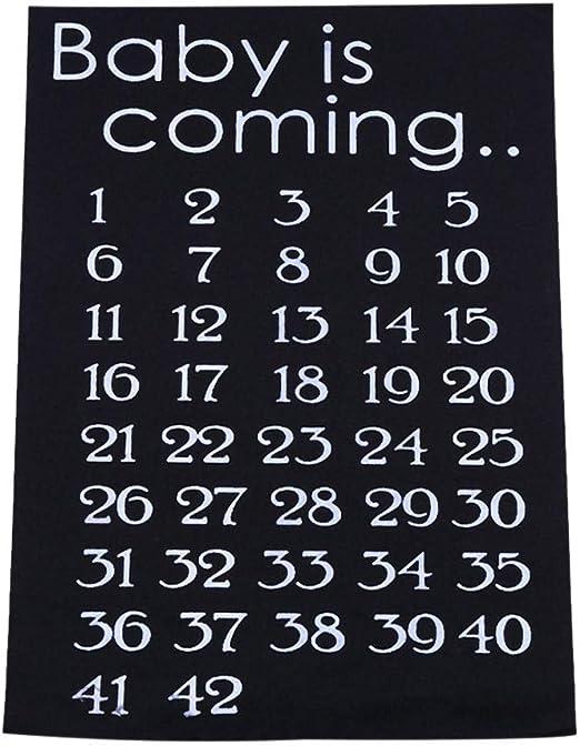 Blanco Calendario de Embarazo Patr/ón de Cuenta atr/ás Bricolaje Cuenta atr/ás Tela Pegatina Beb/é Cuenta Regresiva Nacimiento 42 semanas