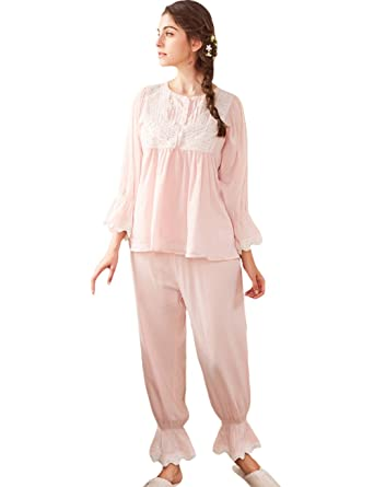 AIKOSHA Womens Retro Victorian Style Long Sleeve Spring Summer Cotton  Pajama Set at Amazon Women s Clothing store  e4c23c5bd
