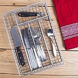 14'' Metal 5 Section Flatware Organizer- Cutlery Tray (Nickel Flatware Drawer Organizer)