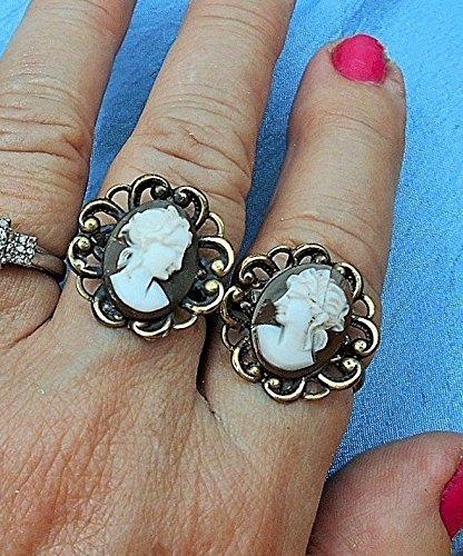 (Pair of Adjustable Cameo Rings, Right & Left Facing, Vintage Hand Carved Shell Cameos Wearing Greek Crowns, w/ Hanging Tendrils, Scalloped Adjustable Rings. ONE OF A KIND!)