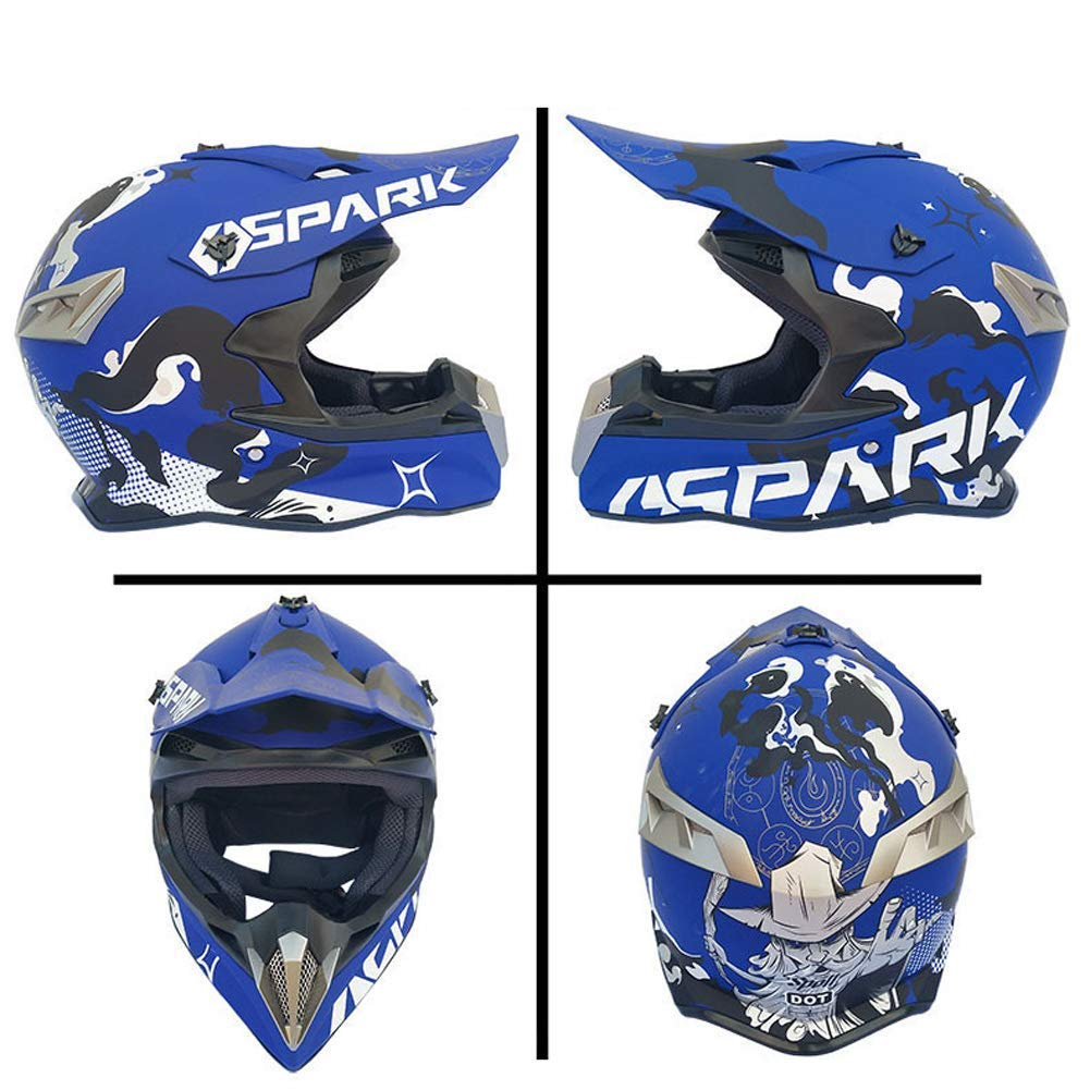 Adult MX ATV Dirt Bike Motocross D.O.T Certified Goggles Gloves Mask Gear Combo Off Road Motocross Helmet set of 4