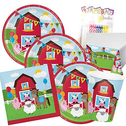 Farmhouse Fun Theme 1st Party Supplies Pack (Serves-16) Dinner Plates, Luncheon Napkins, Cups and Tablecloth - First Barn Animals Party Supply Tableware Supply Set Kit Includes Birthday Candles