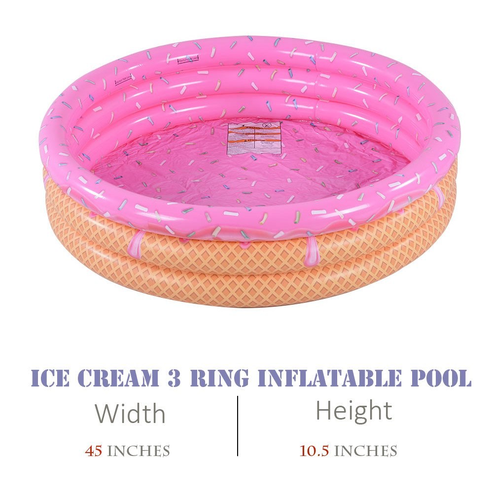 Kiddie Pool, Ice Cream 3 Ring Inflatable Pool for Kids, Ideal Water Pool in Summer, 45 Inches Inflatable Swimming Pool, for Ages 3+ by XFlated (Image #4)