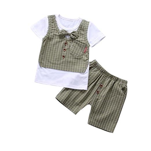 d2c944f1b Kehen Infant Baby Toddler Boy Plaid Vest Short Sleeve Shirt with Tie Bows + Shorts  2pcs