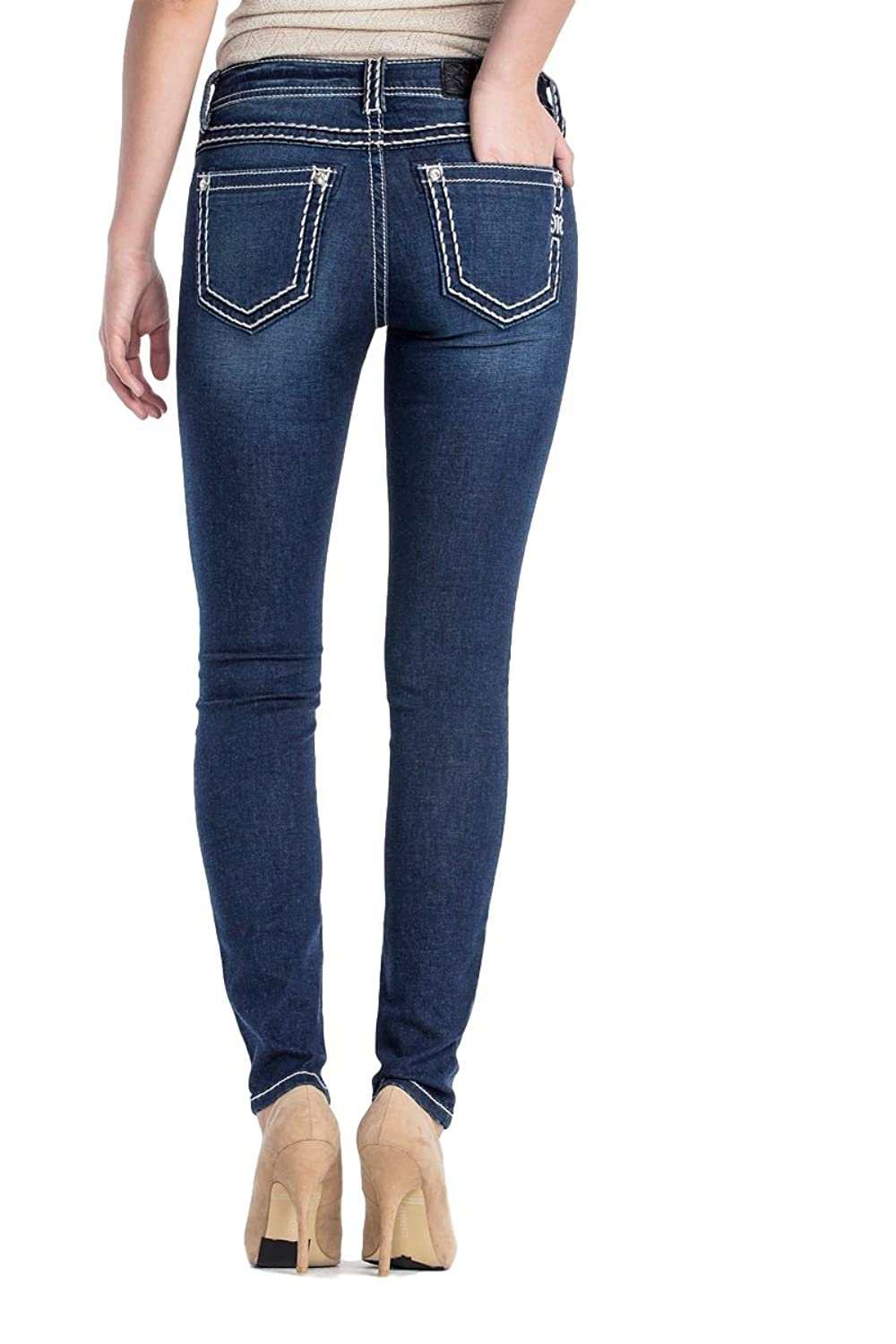 Miss Me Jeans Women's Fever Stitch Super Skinny Stretch Thick White Stitching Mid-Rise