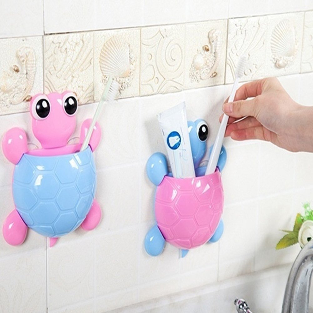 heDIANz Toothpaste Holder,Cute Cartoon Tortoise Shaped Suction Cup holder Bathroom Toothbrush holder Pink
