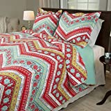 red and white chevron quilt - 2 Piece Girl Rainbow Floral Chevron Theme Quilt Twin Set, Pretty Girly Vibrant Flower Zigzag Bedding, Beautiful Horizontal Zig Zag Flowers Themed Pattern, Red Pink Light Teal Blue Green White