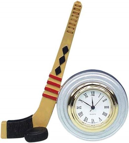 2.75 Inch Wood Stick and Hockey Puck Next to Mini Quartz Clock 2.75 WL SS-WL-5375