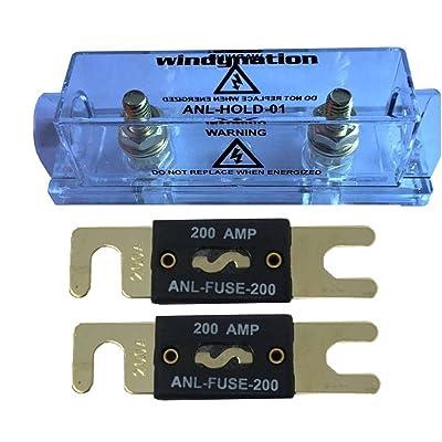 WindyNation ANL Fuse Holder + ANL Fuse (2pcs 200A Fuse): Car Electronics