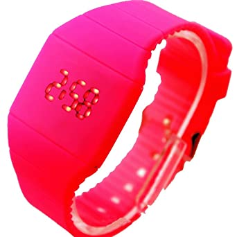 CursOnline Reloj Unisex LED Estilo Moderno Touch Cómodo Pulsera Ligero Económico Color Fucsia: Amazon.es: Relojes