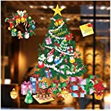 Witkey Merry Christmas Wall Decals Christmas Tree Wall Decor Christmas Gift Bells Snowman Wall Stickers for Kids Babys Boy and Girls Room Bedroom Window Decorations Removable DIY