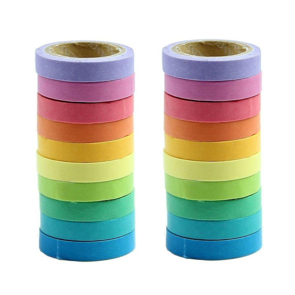 Jzf Lot de 210rouleaux décoratifs Washi Rainbow Sticky papier de masquage ruban adhésif Scrapbooking, cartes, bricolage, arts & Crafts Couleurs unies ruban de masquage