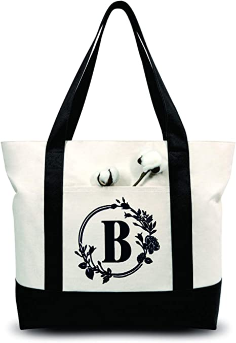 TOPDesign Embroidery Initial Canvas Tote Bag