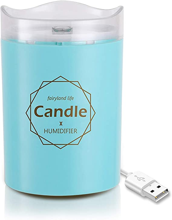 Ferrisland humidificador de Aire ultrasónico con Vela, romántico, luz Suave, difusor de Aceite Esencial USB ...