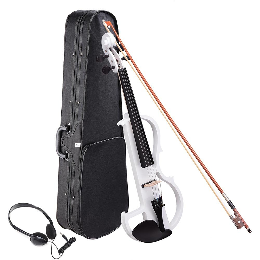 AW 4/4 Electric Violin Full Size Wood Silent Fiddle Musical Instrument Fittings Headphone White AW-VIL000013