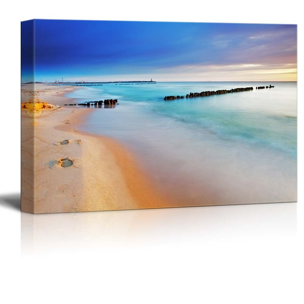 Canvas Prints Wall Art - Baltic Sea at Beautiful Sunrise in Poland Beach | Modern Wall Decor/Home Decoration Stretched Gallery Canvas Wrap Giclee Print. Ready to Hang - 24