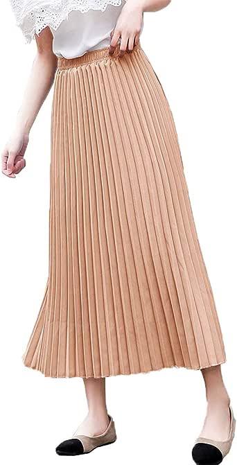 Mujer Falda Plisada de Acordeón Largo de Dobladillo Grande ...