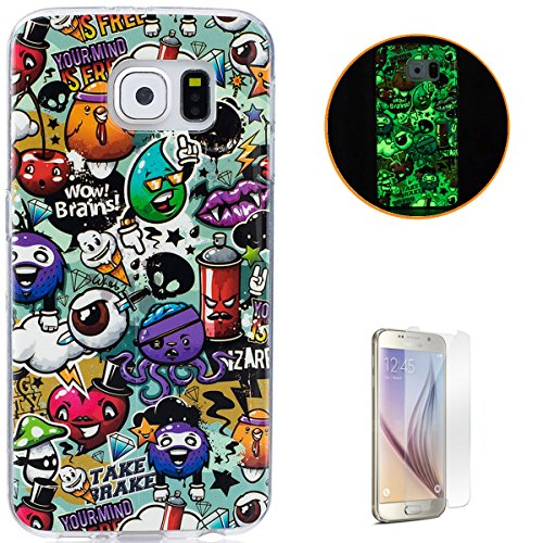 Samsung Galaxy S6 Soft Silicone Gel Case Luminous Effect KaseHom [with Free Screen Protector] Green Glow in the Dark Colourful Cartoon Rubbish Pattern Jelly Clear TPU Skin Cover Bumper Shell ()