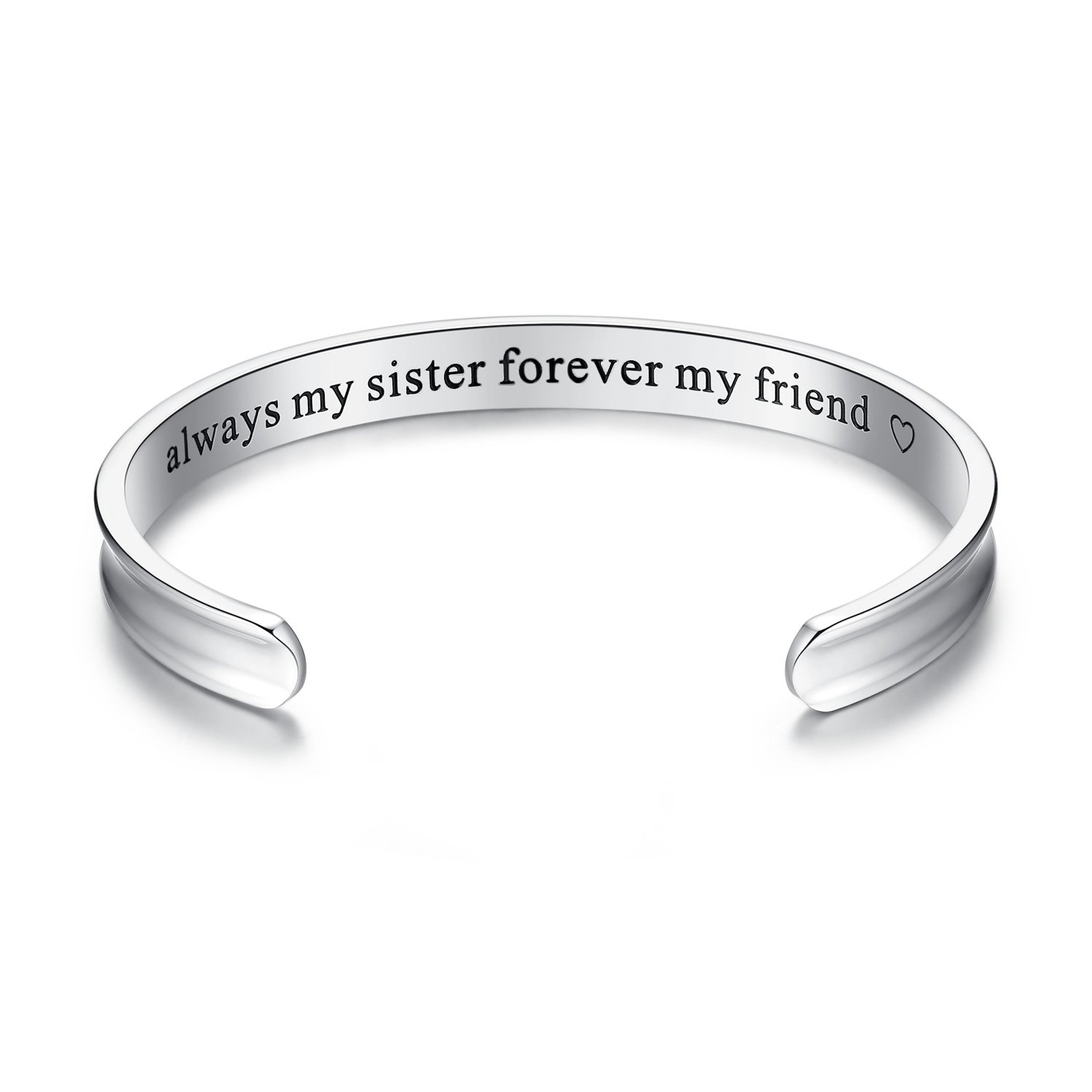 Amazon.com: \'Always my sister forever my friend\' Grooved Cuff Bangle ...