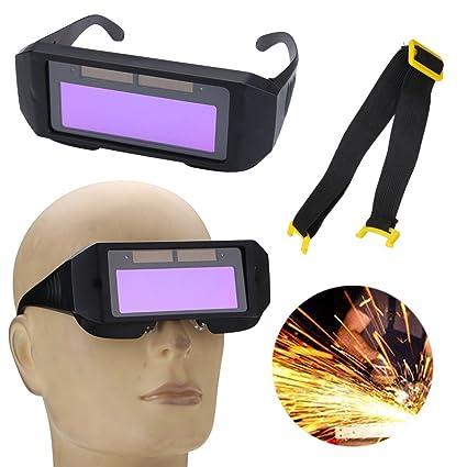 MASUNN Solar Powered Auto Oscurecimiento Máscara De Soldadura Casco Ojos Gafas De Dos Vías Gafas
