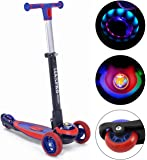 Gooyo Road Runner Scooter for Kids - The Smart Kick Scooter for Kids/Baby with Adjustable Height, Fold able LED PU Wheels and Weight Capacity 50 kgs (Red) Toys for Boys|Girls