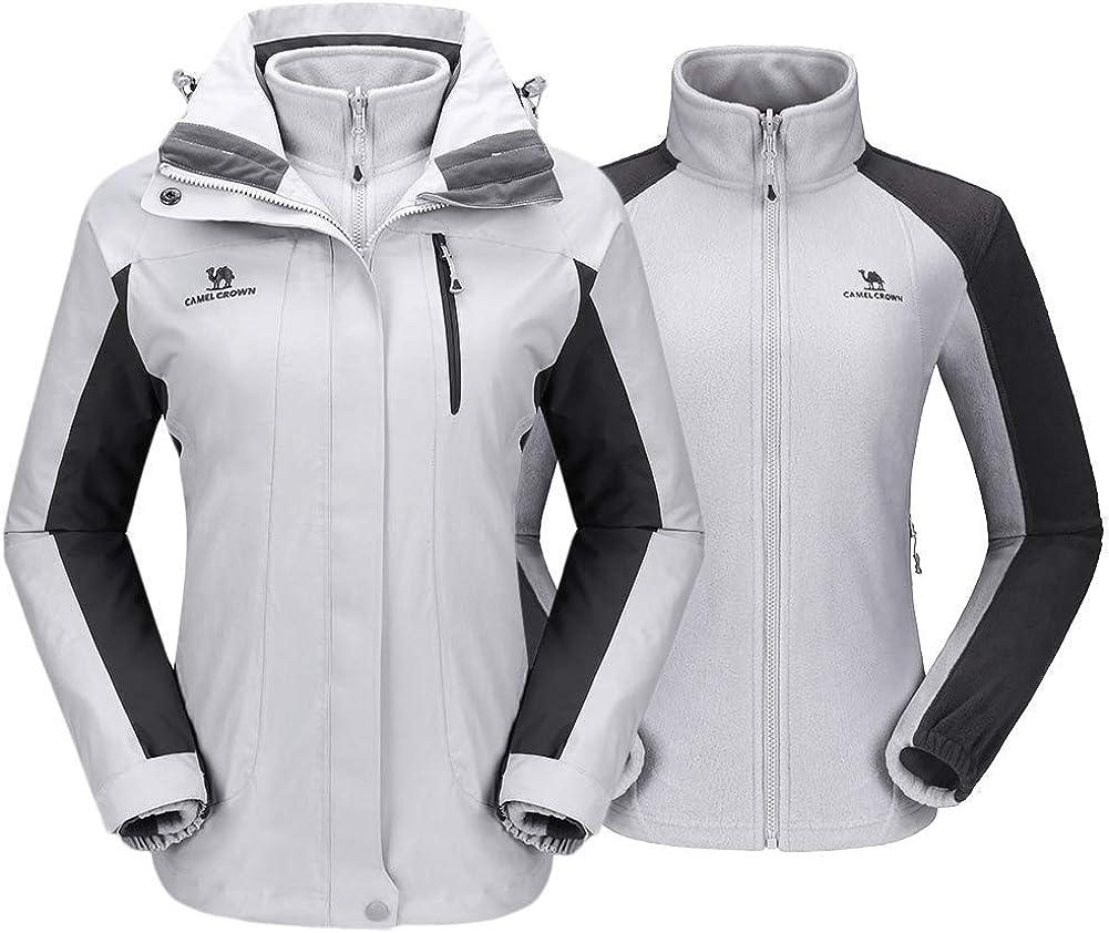 CAMEL CROWN giacca outdoor da uomo 3 in 1 giacca da sci con giacca in pile Giacca antipioggia antivento Giacca invernale con cappuccio Giacca doppia Giacca funzionale Giacca da uomo