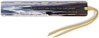 product image for Wooden Bookmark with Inspirational John Steinbeck Quote and Beach Scene Photograph by Mike DeCesare