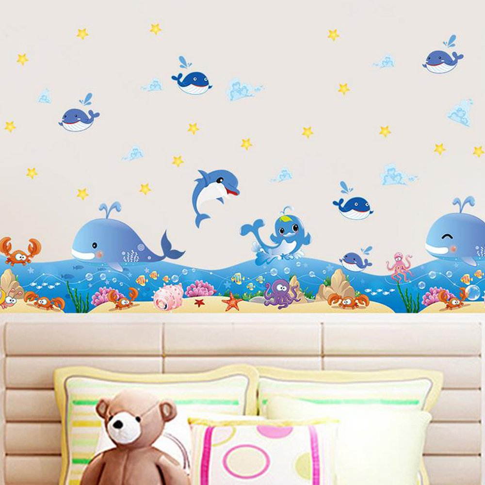 Ocean Whales Animals Wall Sticker Decal Home Paper PVC Murals House Wallpaper Bedroom Kids Babies Living Room Art Picture Decoration Howsley P1160