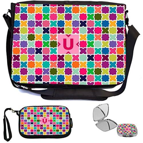 Rikki Knight Letter U Monogram Vibrant Hot Pink Edgy Mosaic Design Design COMBO Multifunction Messenger Laptop Bag - with padded insert for School or Work - includes Wristlet & Mirror