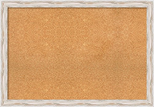 Framed Wash (Amanti Art Framed Cork Board Large, Alexandria White Wash Wood: Outer Size 39 x 27