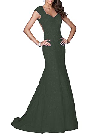 b85ca81f175e YSMei Womens Long Lace Prom Dresses Mermaid Evening Formal Gown Cap Sleeves  Black 02
