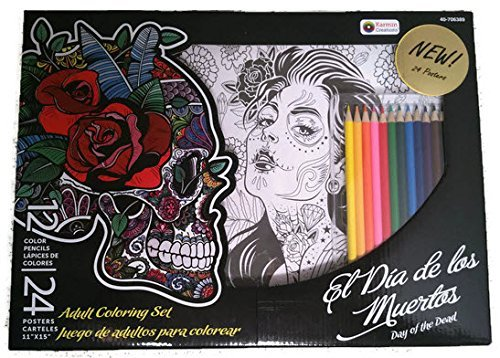 Day of the Dead Adult Coloring Art Set with 24 posters and 12 colored pencils, Dia de los Muertos by Karmin Creations