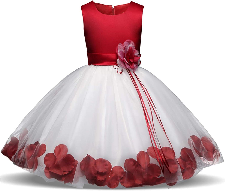 TTYAOVO Vestido de Fiesta Nupcial de la Boda del Arco de Los Pétalos de la Flor del Tutú de Las Muchachas para la Niña Pequeña