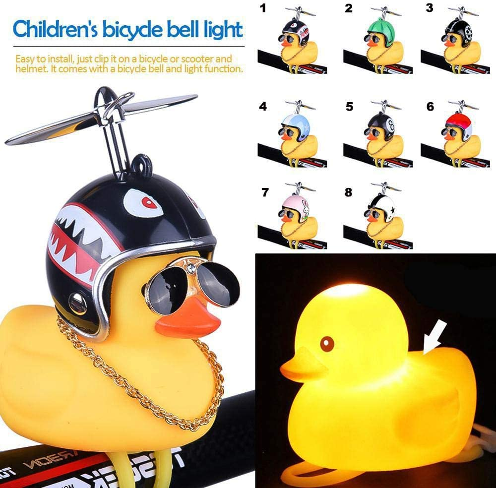 Duck Bike Bell Rubber Yellow Duck Bicycle Accessories Cute Propeller Handlebar Bicycle Horns For Kids Toddler Motorcycles Car Electric Bicycles Air Bike Bicycle Horn With LED Lights