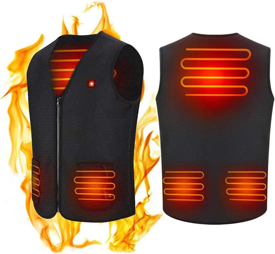 USB Heated Vest, Womdee 5V Rechargeable Insulated Heating Jacket for Men and Women, Lightweight Washable Cold-Proof Clothes for Outdoor Motorcycle Riding Golf Hunting (L)