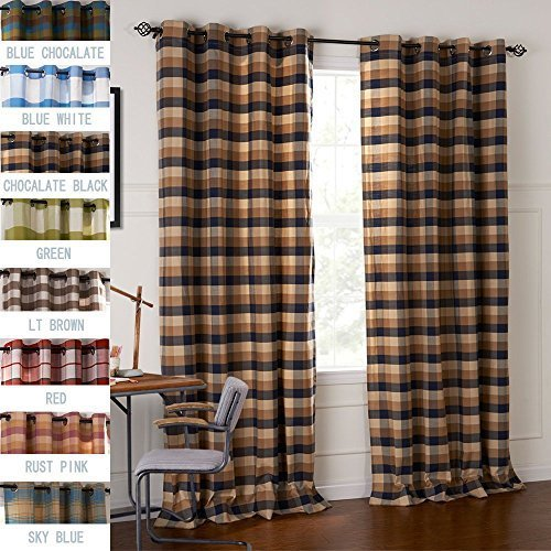 (IYUEGO Country Retro Dark Colored Plaid Jacquard Grommet Top Lining Blackout Curtains Draperies with Multi Size Custom 72
