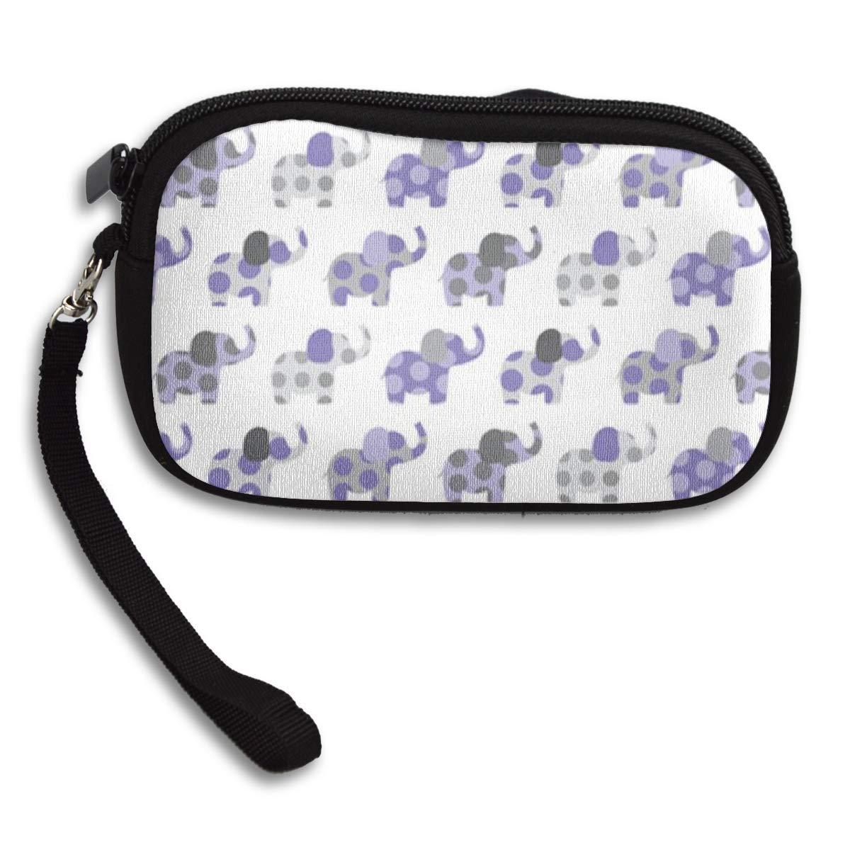 Coin Purse Elephant Friends Purple Gray wallet change Purse with Zipper Wallet Coin Pouch Mini Size Cash Phone Holder
